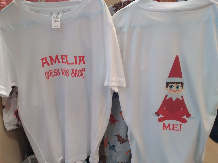 Personalised White T Shirt With Full Colour Naughty ELF Print