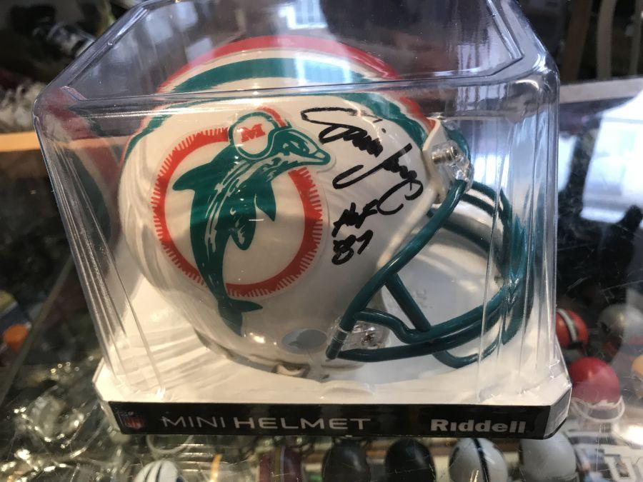 Jim Langer Signed Dolphins Mini Helmet Inscribed HOF 87