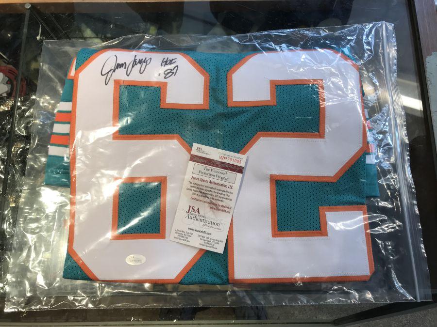 Jim Langer Signed Dolphins Jersey Inscribed HOF '87