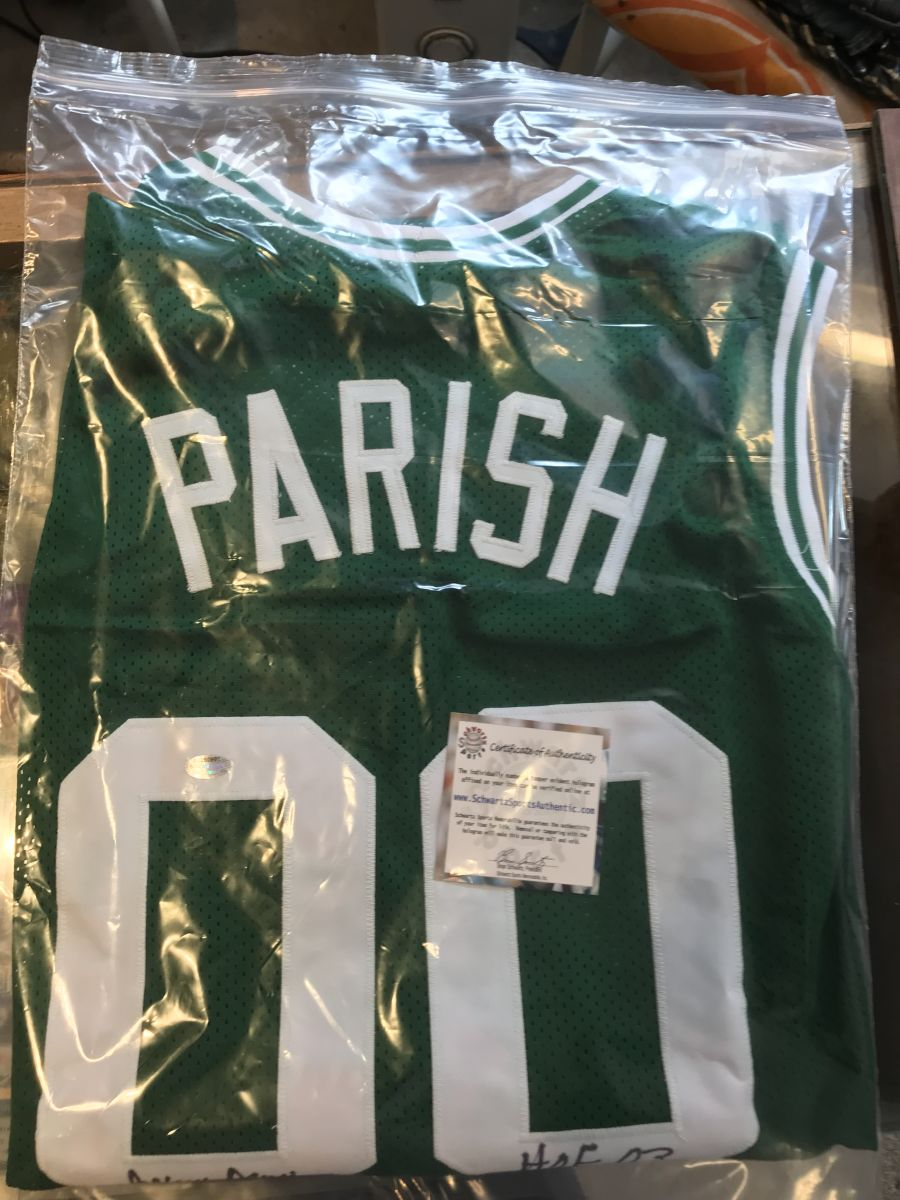 Robert Parish Signed Green Custom Embroidered Career Achievements Basketball Jersey with HOF'03