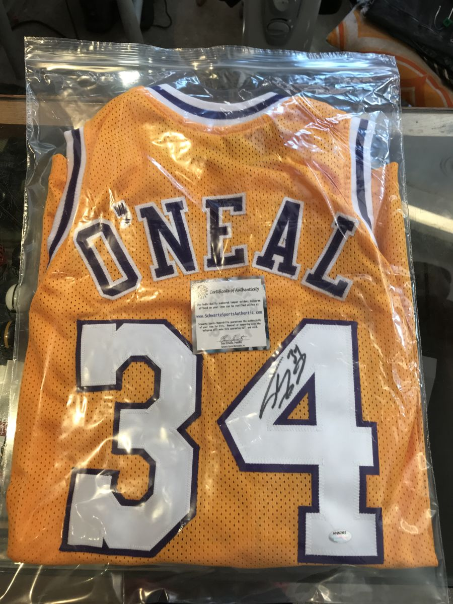 Shaquille O'Neal Signed Gold Custom Basketball Jersey