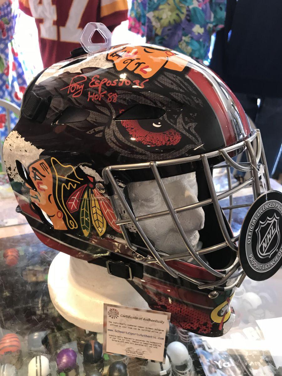 Tony Esposito Signed Chicago Blackhawks Franklin Replica Hockey Goalie Mask  with HOF'88
