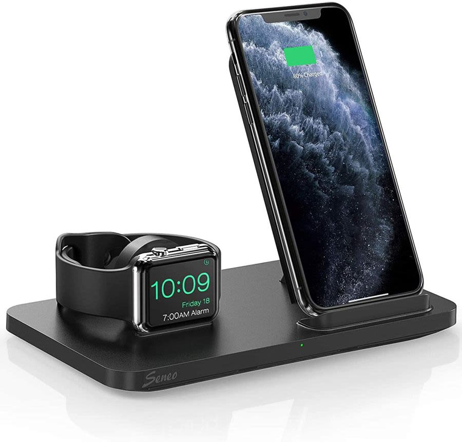 2 IN 1 FAST WIRELESS CHARGER STAND FOR APPLE WATCH AND IPHONE