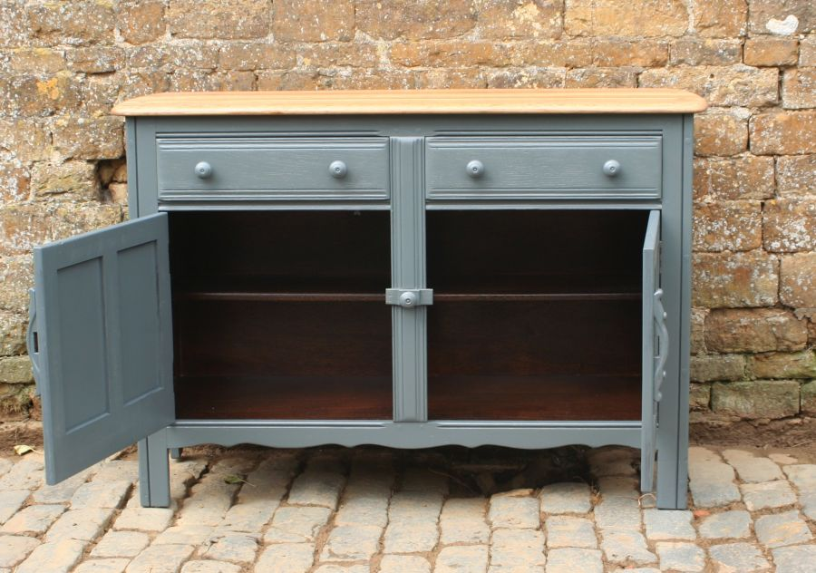 Ercol elm custom hand painted sideboard