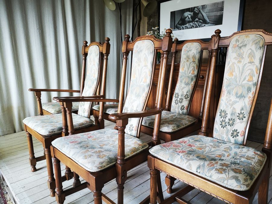 Six Ercol Hampton Upholstered Back Dining Chairs