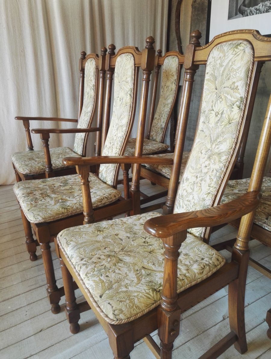 Set of six Ercol Hampton Upholstered Back Dining Chairs