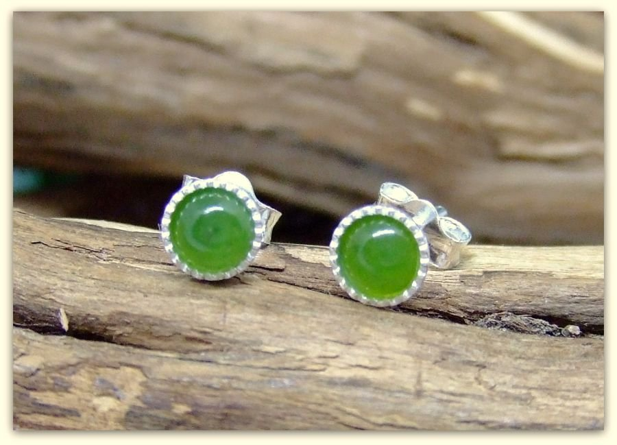 Silver Stud Green Jade 4mm Earrings .925