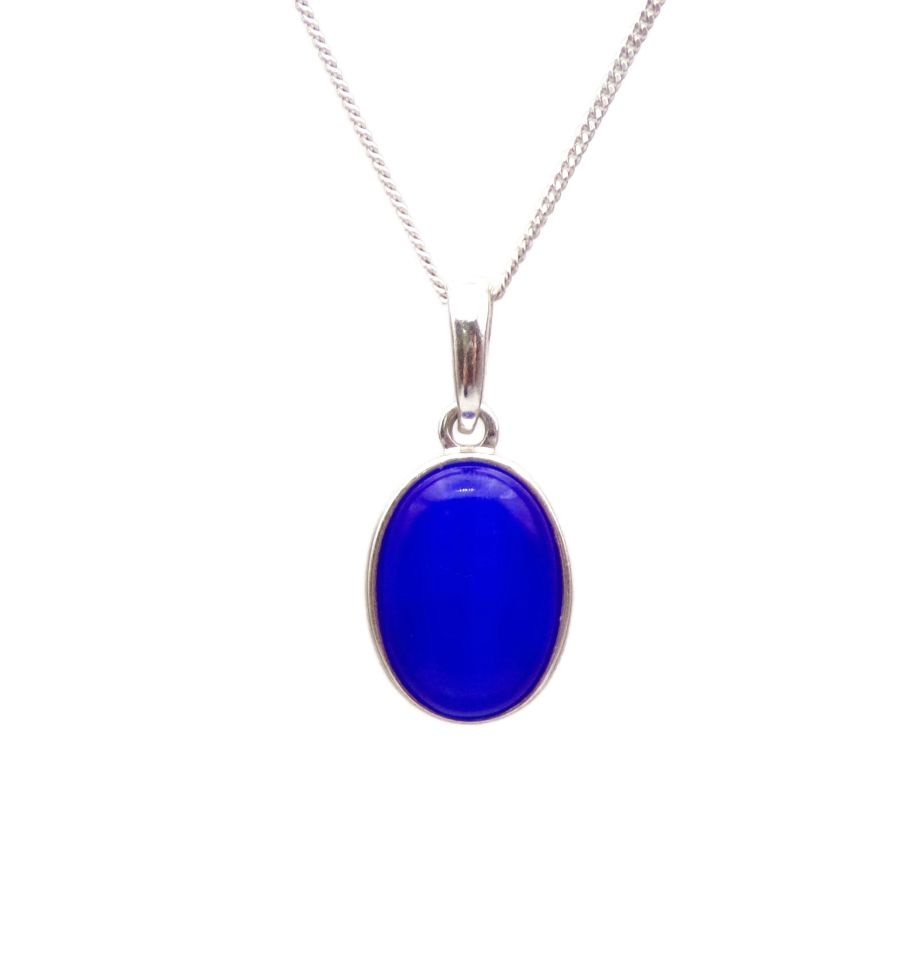 Blue Cats Eye Pendant Necklace Oval silver chain 14mm