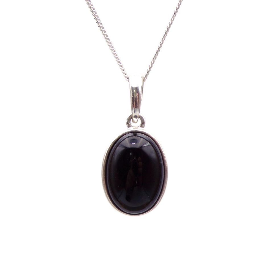 Black Onyx Pendant Necklace Oval silver chain 14mm