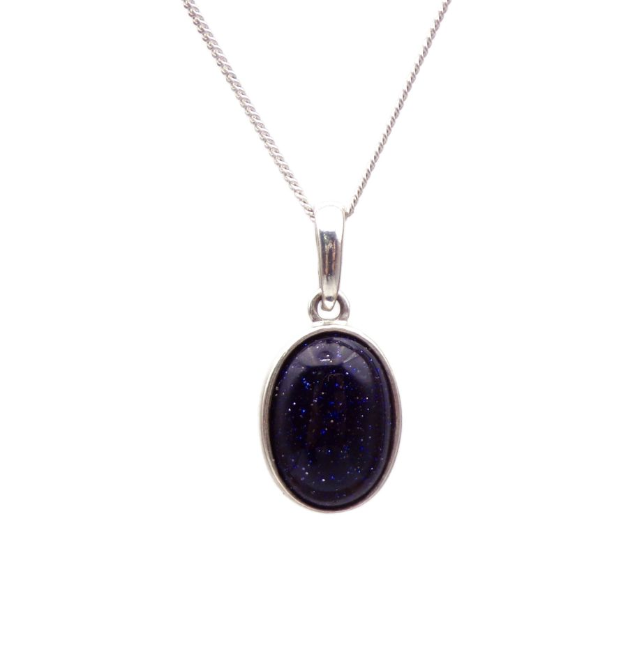Blue Goldstone Pendant Necklace Oval silver chain 14mm