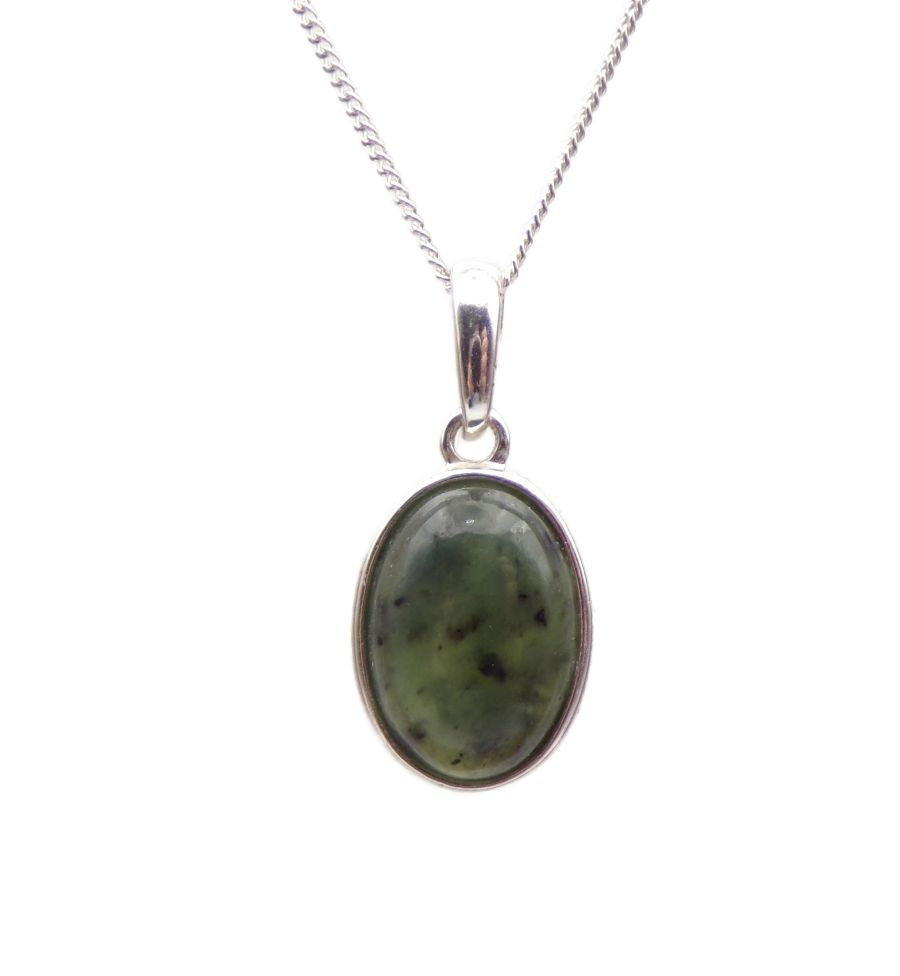 Green Jade Pendant Necklace Oval silver chain 14mm