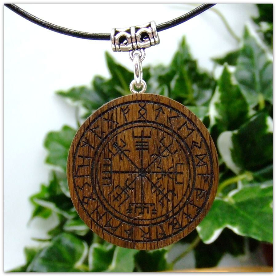 Vegvisir Pendant Necklace in 5000 year old Irish Bog Oak