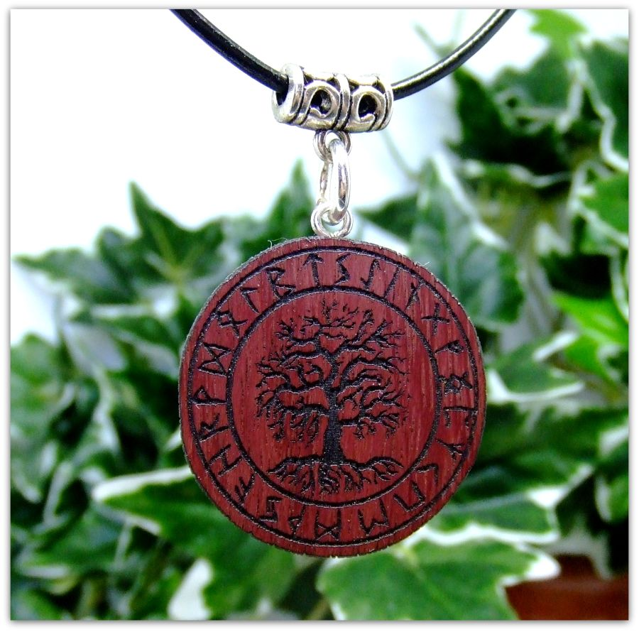 Yggdrasil Pendant Necklace in Purpleheart wood Gift