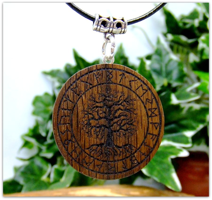 Yggdrasil Pendant Necklace in 5000 year old Irish Bog Oak