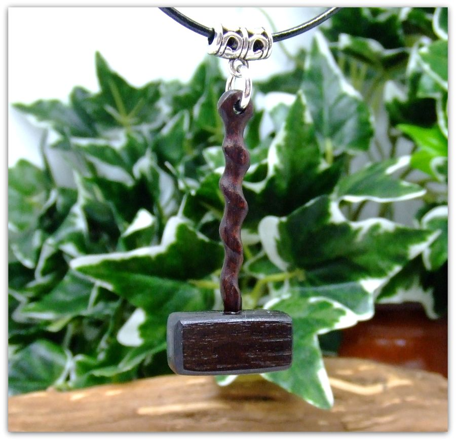 Thors hammer Viking pendant Irish Bog Oak & Snakewood