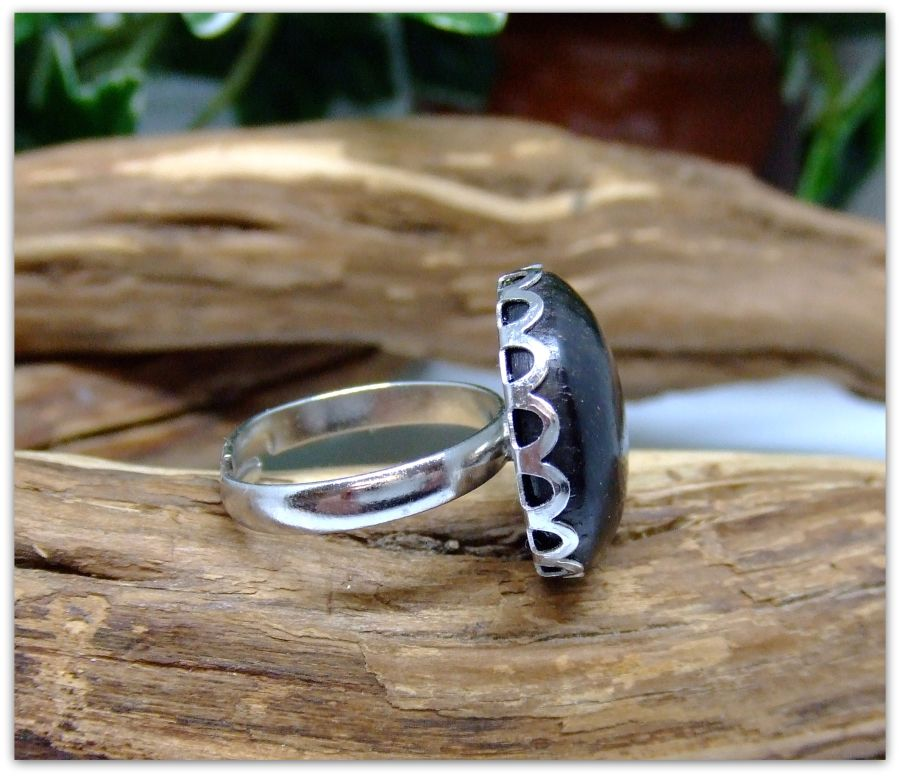 Platinum plated Ring inset with 5000 year old Irish Bog Oak