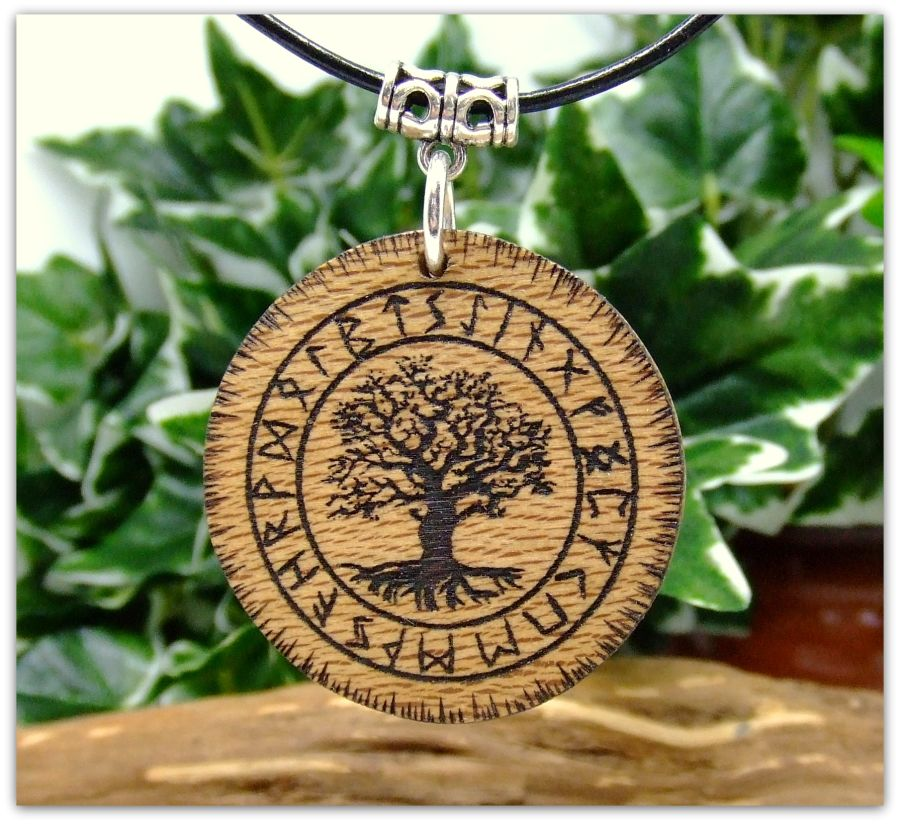 Yggdrasil Pendant Necklace in London Plane wood Gift