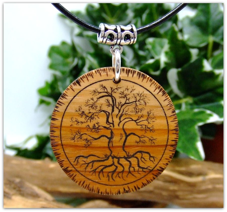 Yggdrasil Tree of Life Pendant Necklace in English Yew wood