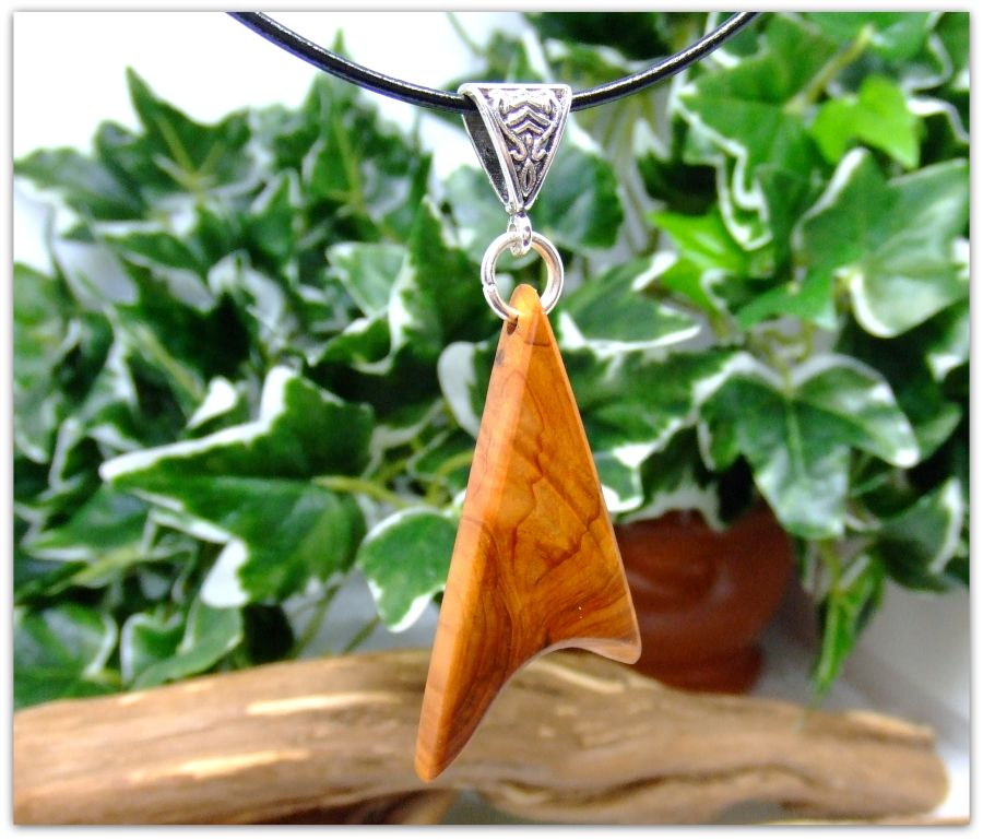 Triangular design Pendant Necklace in English Yew wood