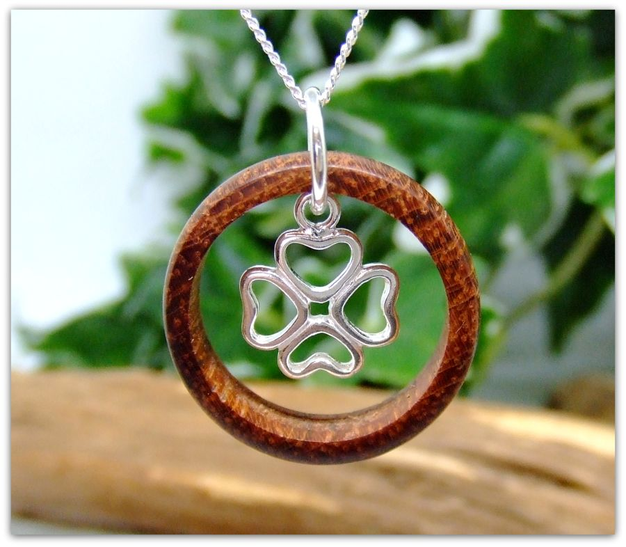 Sterling Silver 4 Leaf Clover Ring Necklace in Bubinga wood