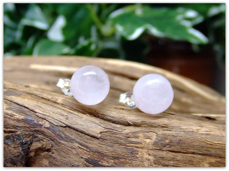 Silver Stud Rose Quartz 8mm Earrings .925 Sterling
