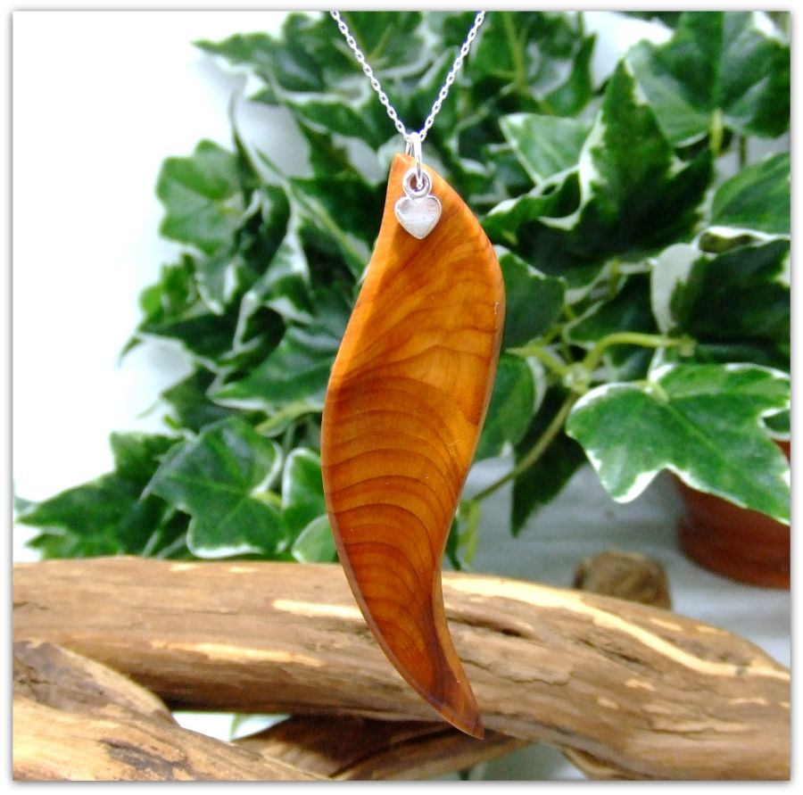 Leaf Heart Pendant Necklace in English Yew Wood