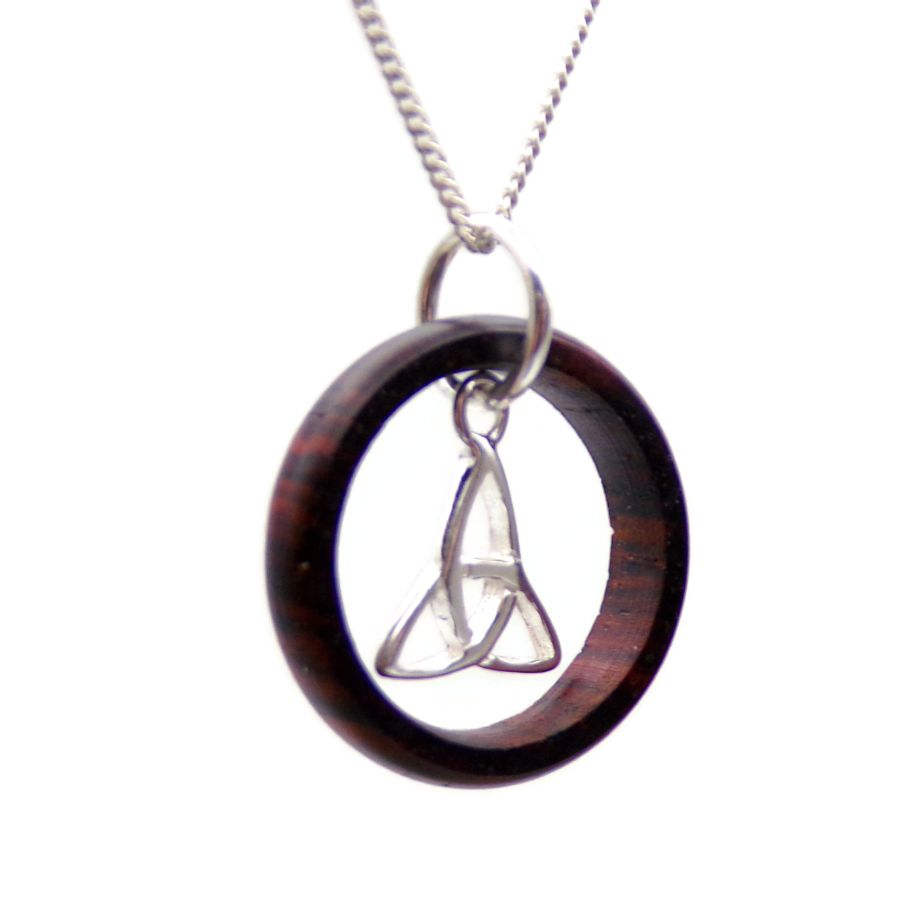 Sterling Silver Triquetra Ring Pendant Necklace in Cocobolo
