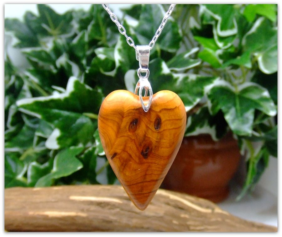 Heart Love Pendant Necklace in English Yew Wood