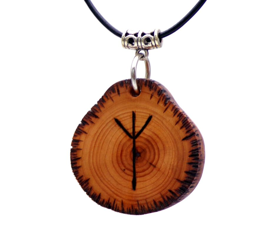 Pendant Necklace Inscribed with Algiz Rune symbol English Yew