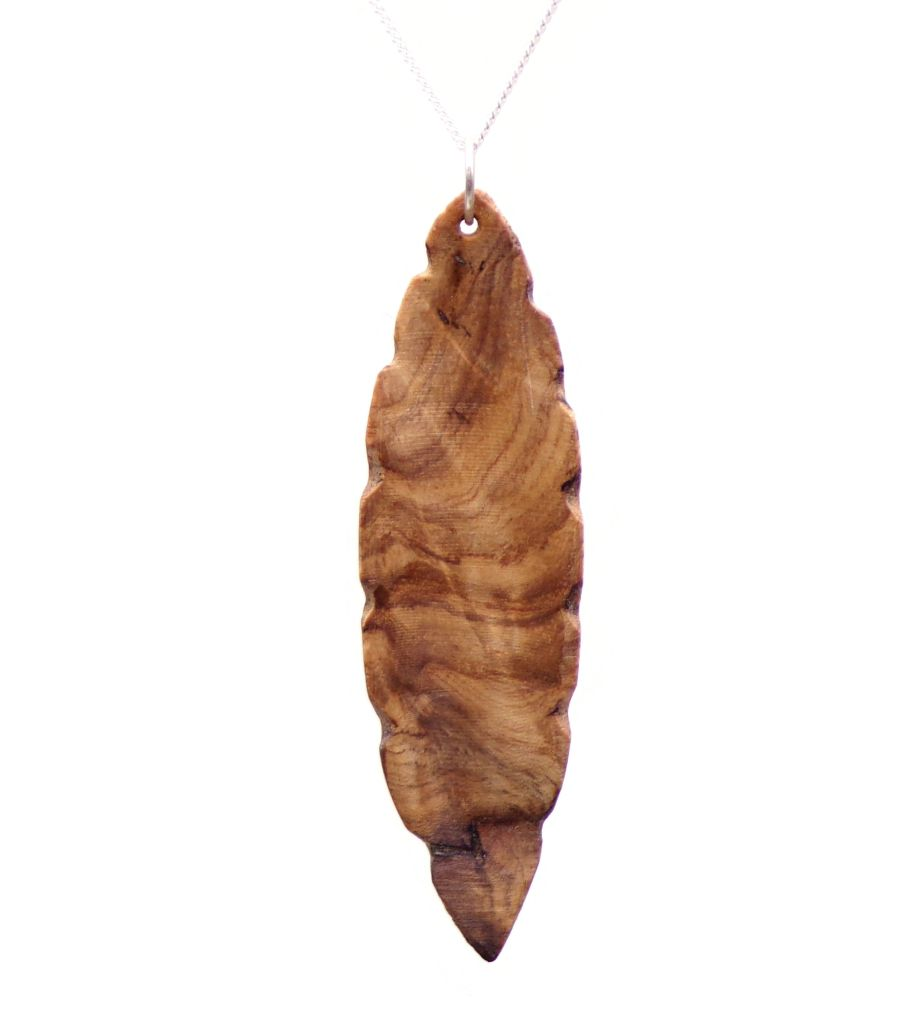 Leaf design Pendant Necklace in Crotch Ash Wood