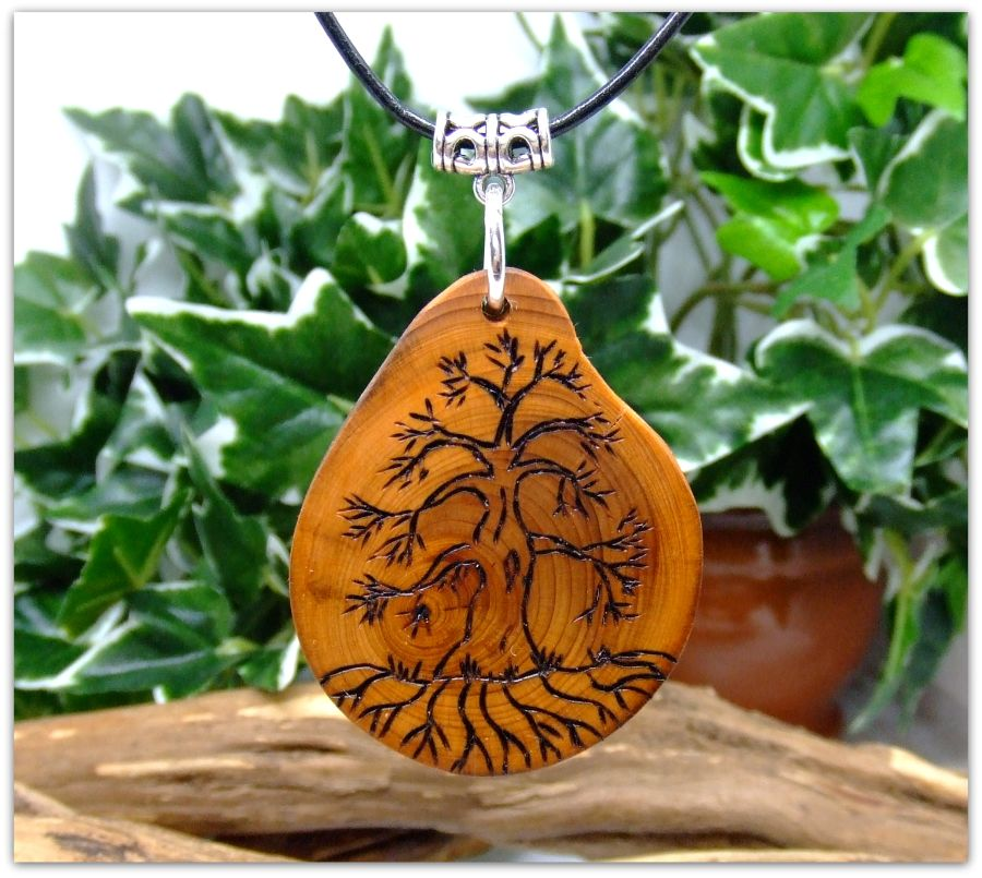 Yggdrasil Wooden Pendant Necklace in English Yew wood