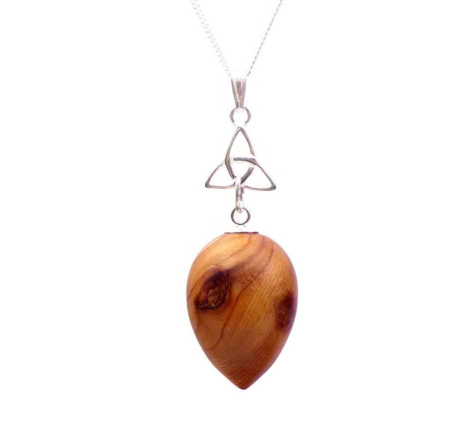Triquetra Acorn design Pendant Necklace in English Yew wood
