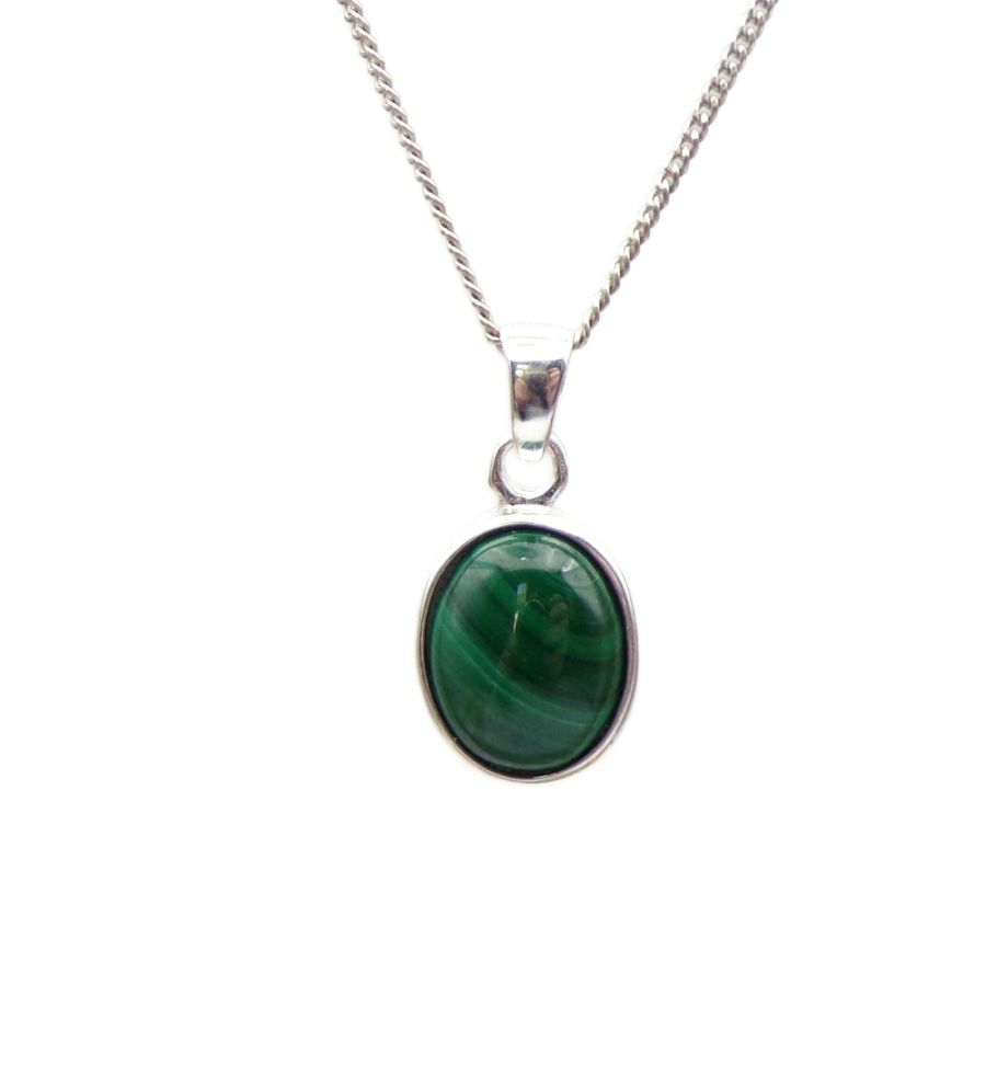 Malachite Silver Pendant Necklace Oval design in .925