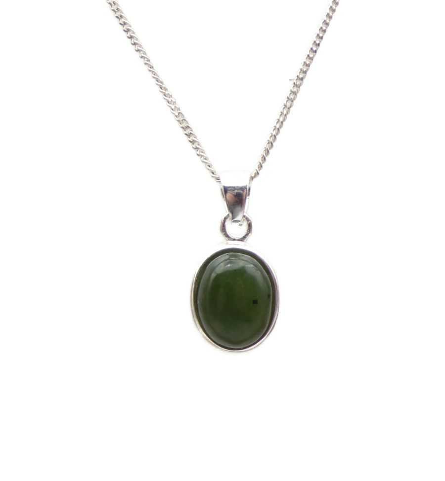 Green Jade Silver Necklace Oval design .925 silver