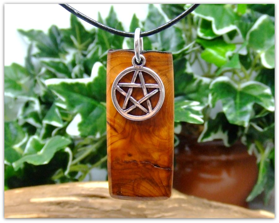 Rectangular Pendant Necklace in English Yew wood