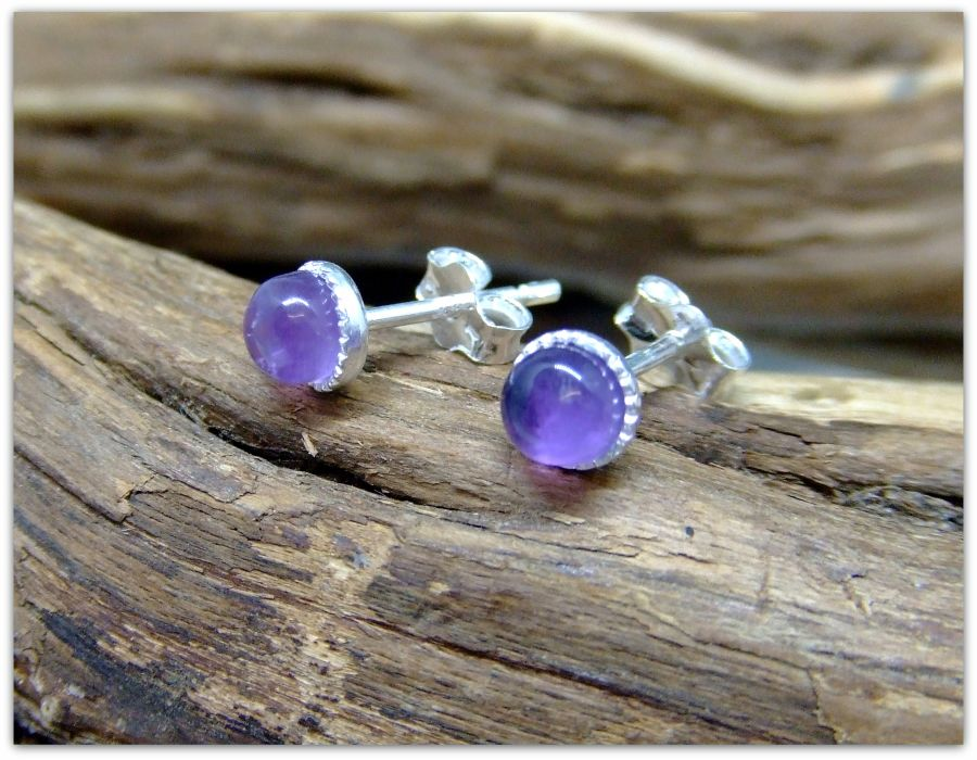 Silver Stud Amethyst 4mm Earrings .925 Sterling