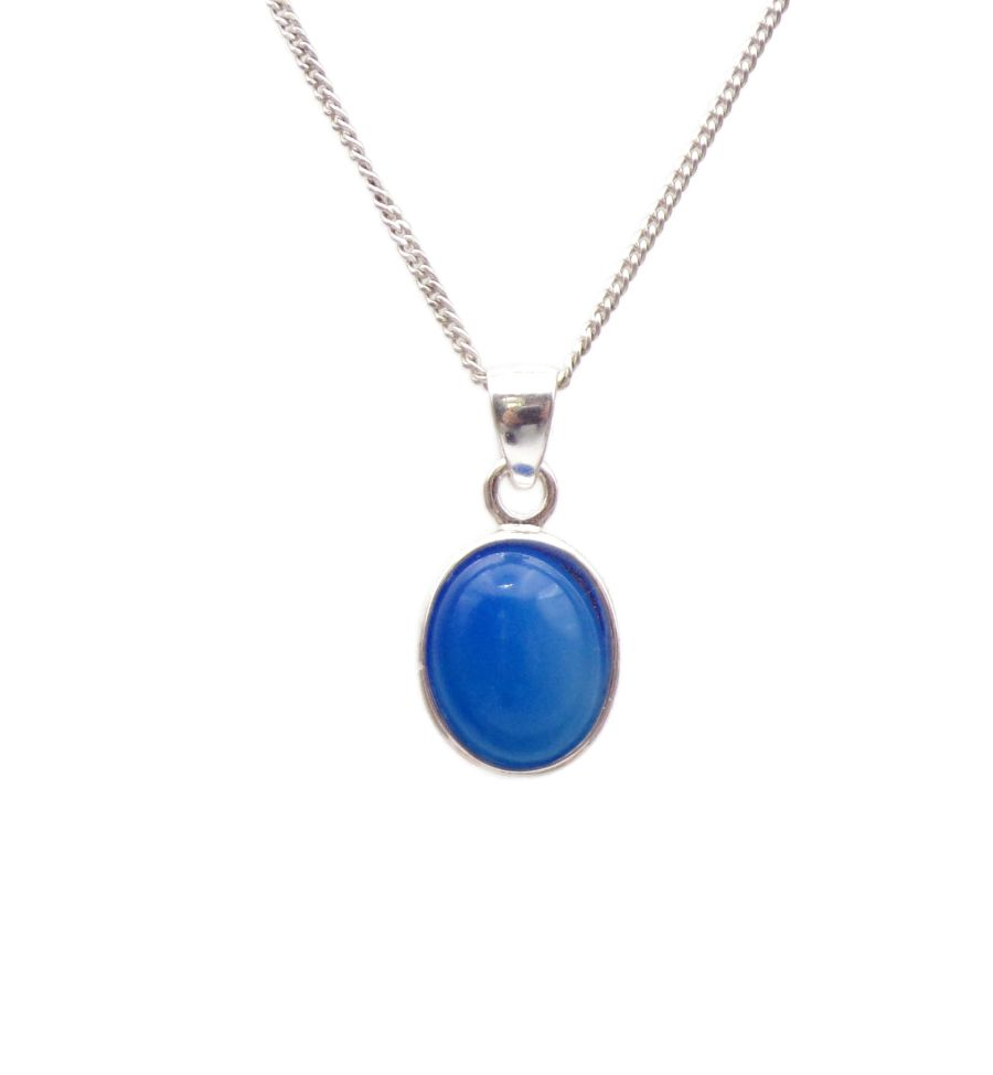 Blue Onyx Silver Necklace Oval design in .925 Sterling