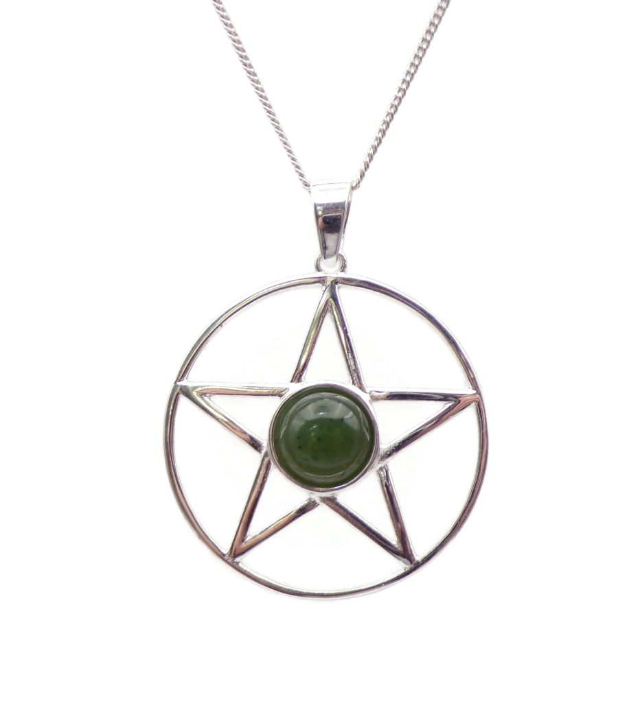Pentagram Green Jade Sterling Silver Necklace Gemstone