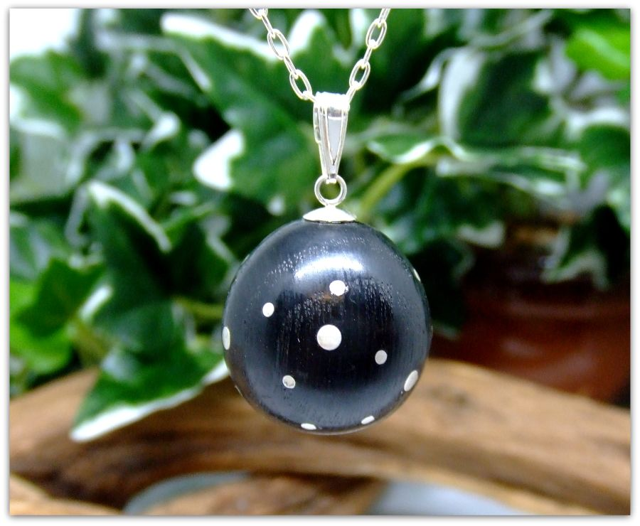 Sterling Silver Moon design Necklace in Irish Bog Oak
