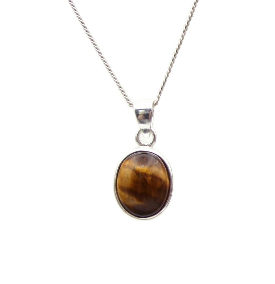 Tigers Eye Silver Pendant Necklace Oval design in .925