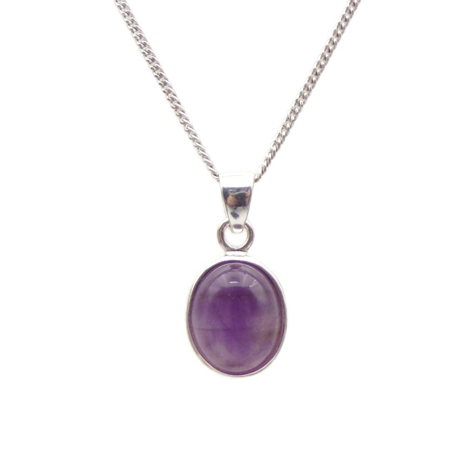 Amethyst Silver Pendant Necklace Oval design in .925