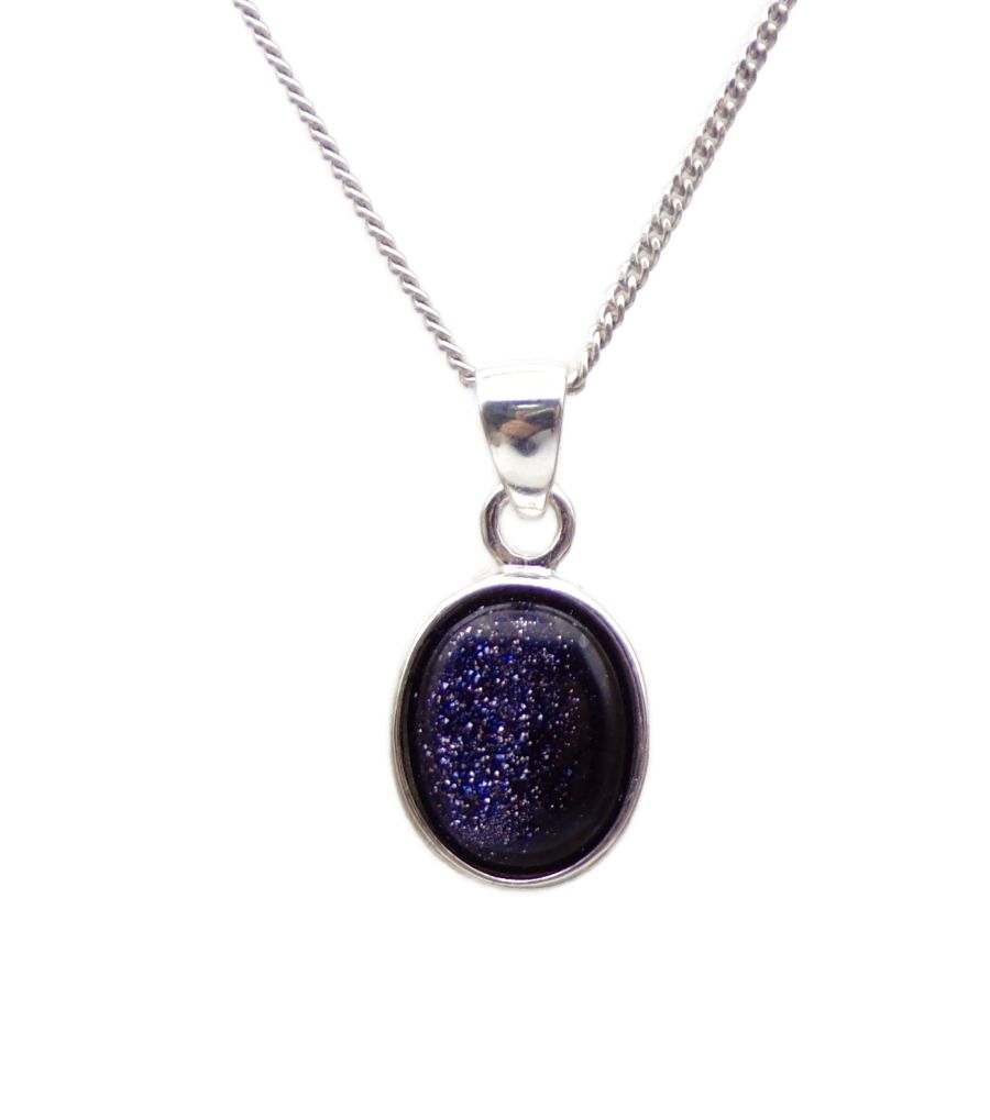 Blue Goldstone Silver Pendant Necklace Oval design in .925