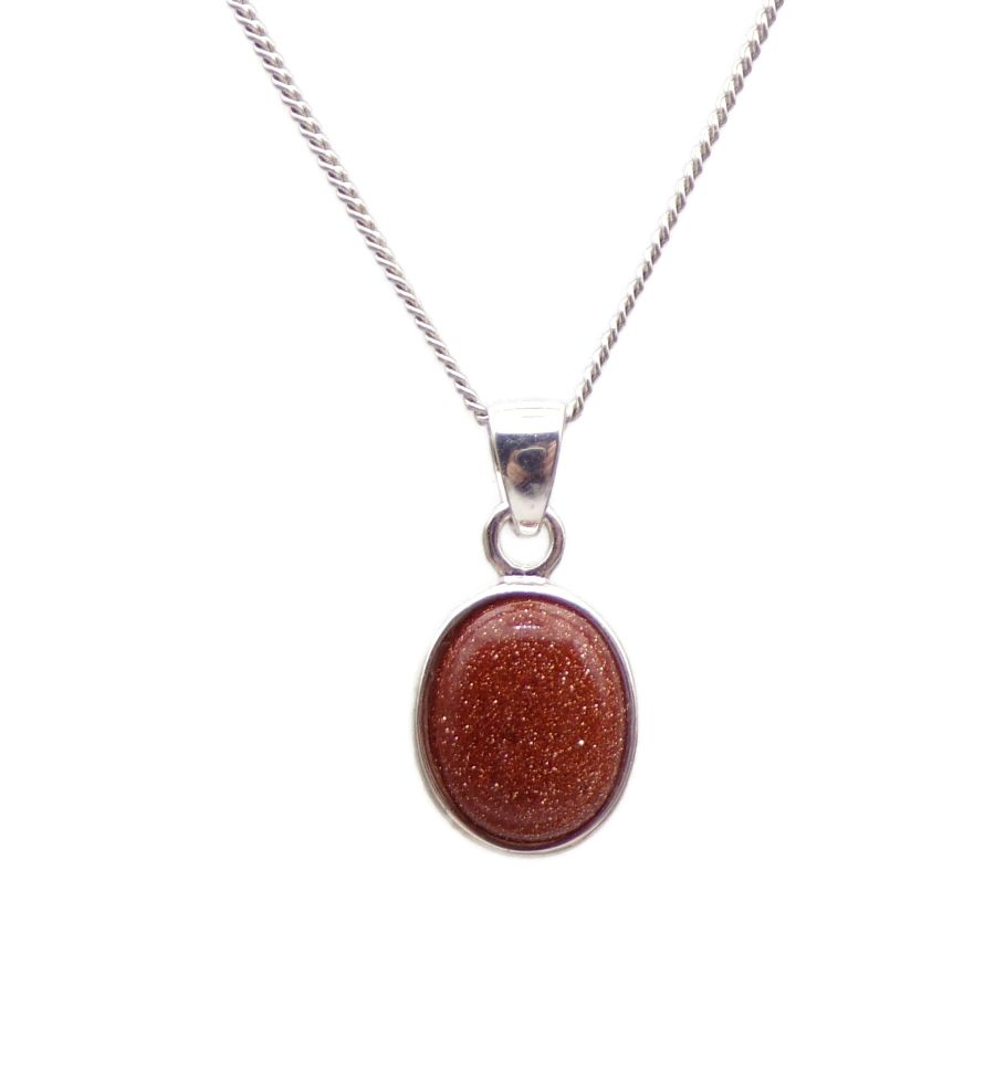 Goldstone Silver Pendant Necklace Oval design in .925