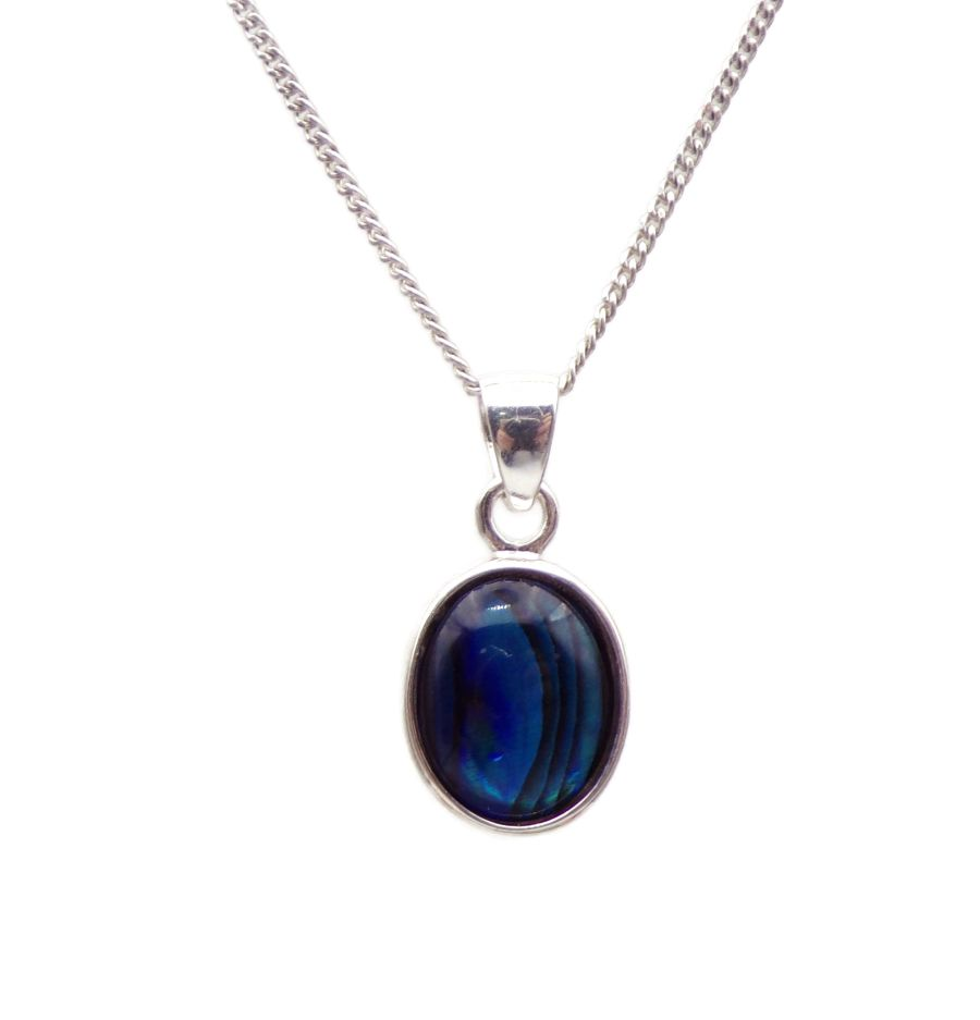 Blue Abalone Silver Pendant Necklace Oval design in .925