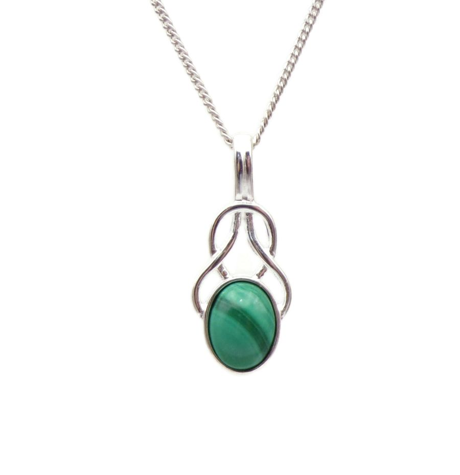 Malachite Sterling Silver Necklace Celtic Knot