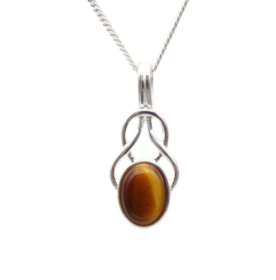 Tigers Eye Sterling Silver Necklace Celtic Knot