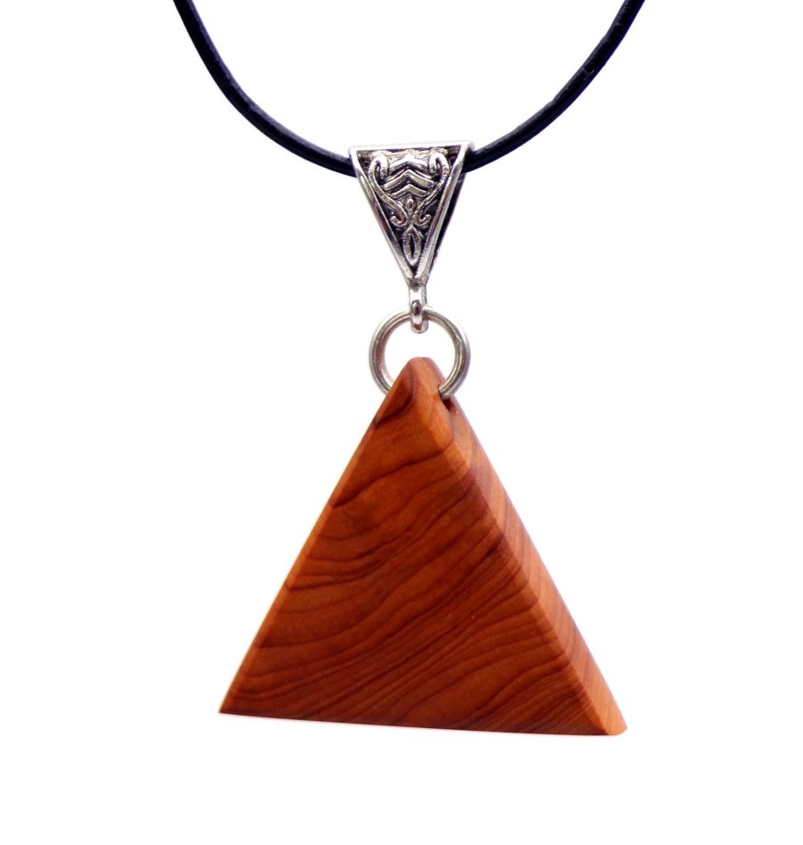 Triangular design Pendant Necklace in English Yew