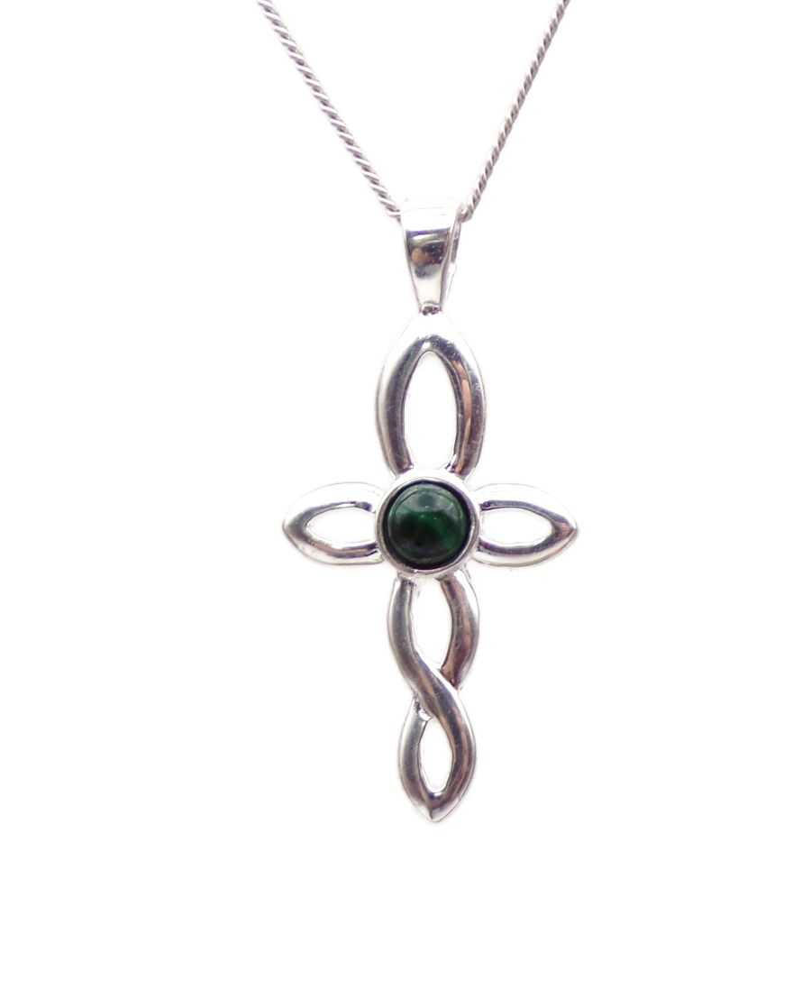 Malachite Sterling Silver Celtic Cross Necklace chain