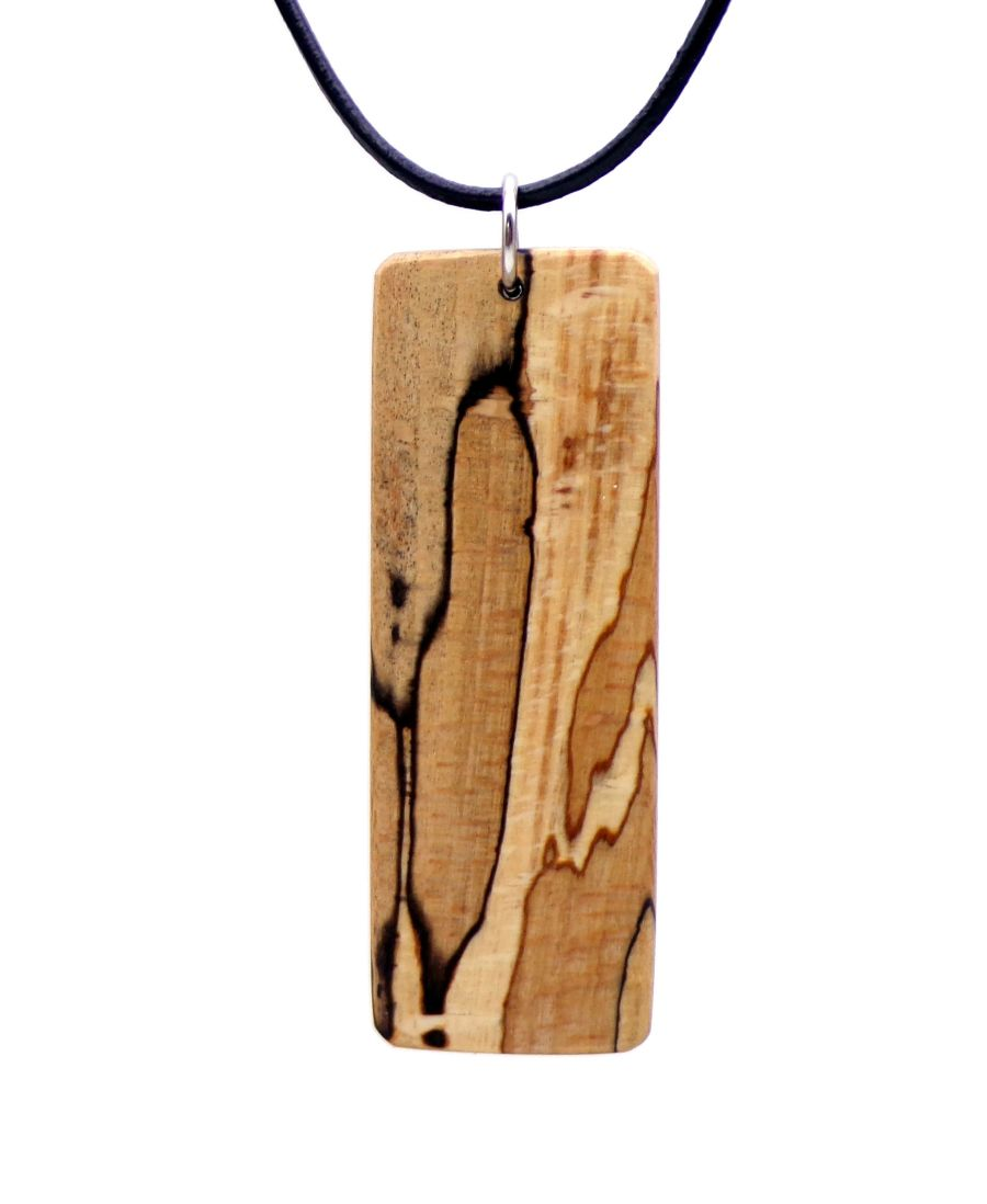 Wooden Pendant Necklace in Spalted Beech wood