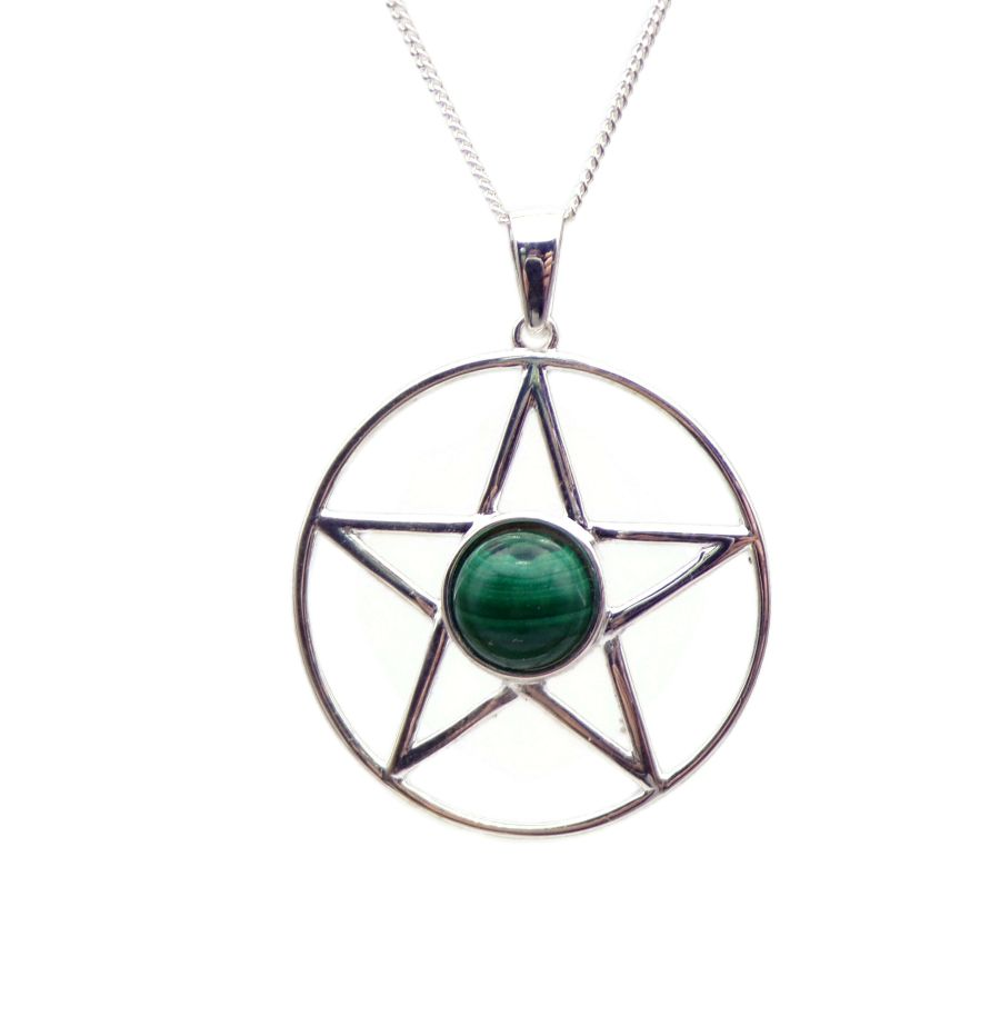 Pentagram Malachite Sterling Silver Necklace Gemstone